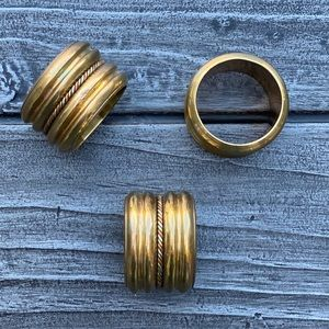 Vintage Gold Brass Cloth Napkins Ring Holders 3